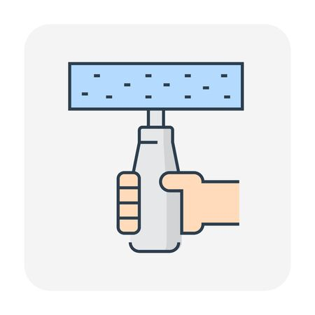 Concrete strength testing icon, editable stroke.