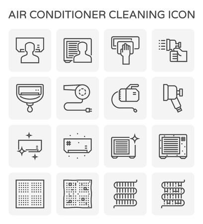 Zestaw ikon do czyszczenia klimatyzatora i sprężarki powietrza, edytowalny skok. Ilustracje wektorowe