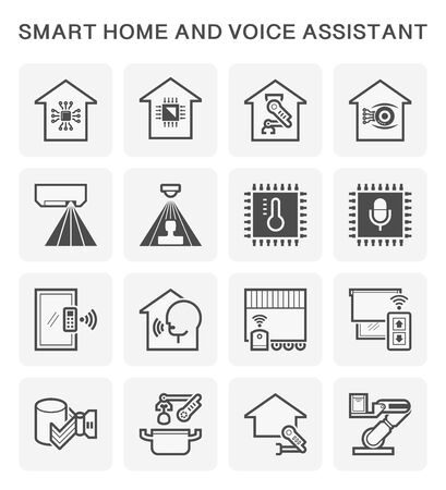 Smart homes and voice-activated personal assistants vector icon set design. Ilustrace