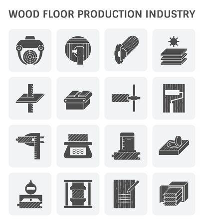 Holzfußbodenproduktionsindustrie und Holzprüfungsikonensatz für Gestaltungselement der Holzproduktionsindustrie und Gestaltungselement für Holzprüfungen.