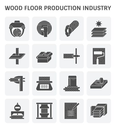 Set di icone per l'industria della produzione di pavimenti in legno e test del legno per l'elemento di design dell'industria della produzione del legno e l'elemento di design per i test del legno.