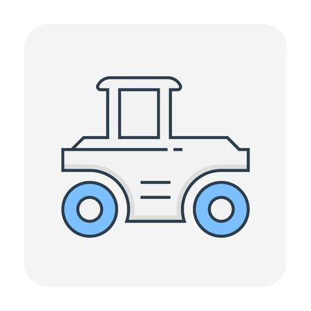 Soil compaction and equipment icon, editable stroke.
