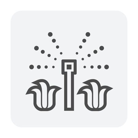 Icono de rociadores de agua automáticos para trabajos agrícolas, negro y contorno.