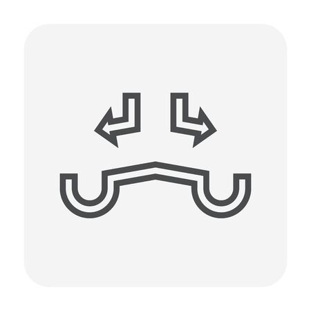 Gutter and drainage system icon, 64x64 perfect pixel and editable stroke. 일러스트