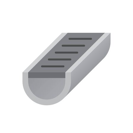 Vector icon of gutter shape for drainage system.