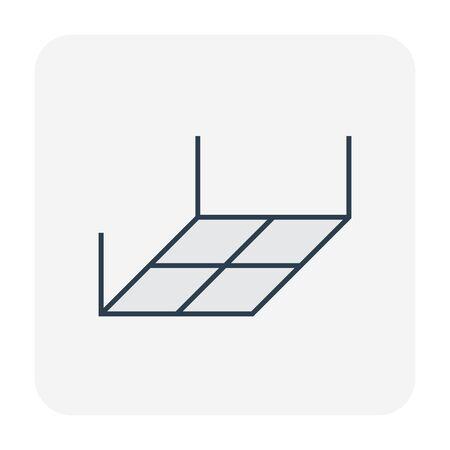 Icono de material y trabajo de techo, trazo editable.
