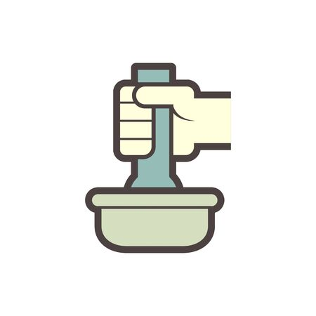 Pharmaceutical production and manufacturing vector icon design on white.