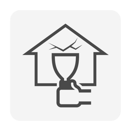 Wall of home crack and water leak vector icon for home problem graphic design element.