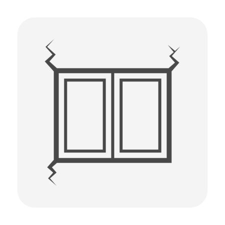 Wall and window crack vector icon design for home problem graphic design element.