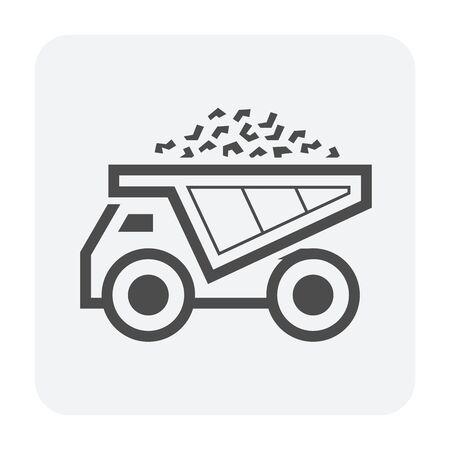 Mine truck vector icon design on white background.