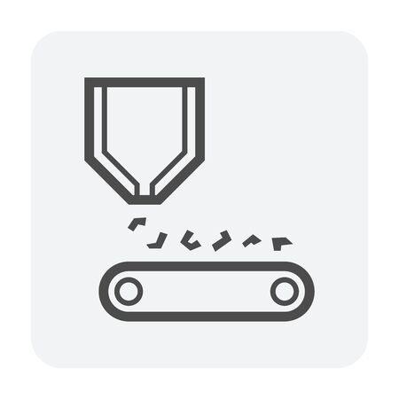 Ore and production line vector icon design on white background. 向量圖像