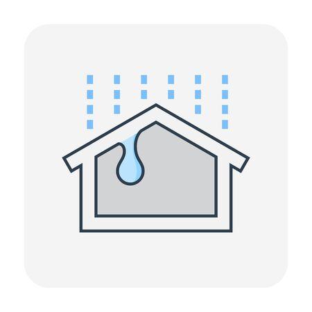 Waterproof and water leak maintenance icon, editable stroke.