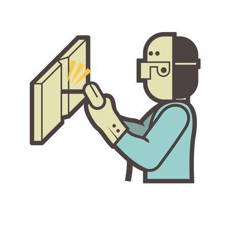 Welder and welding vector icon design.