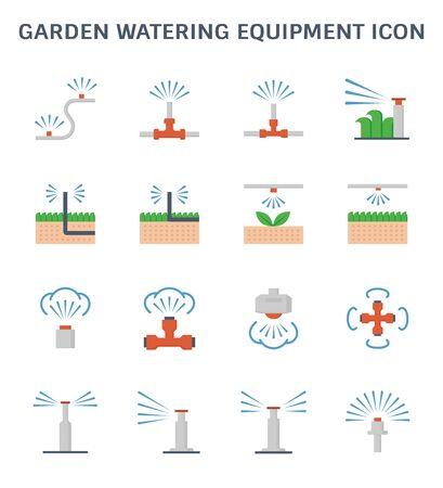 Equipo de riego de jardín y conjunto de iconos de rociadores para el elemento de diseño gráfico del sistema de rociadores automáticos.