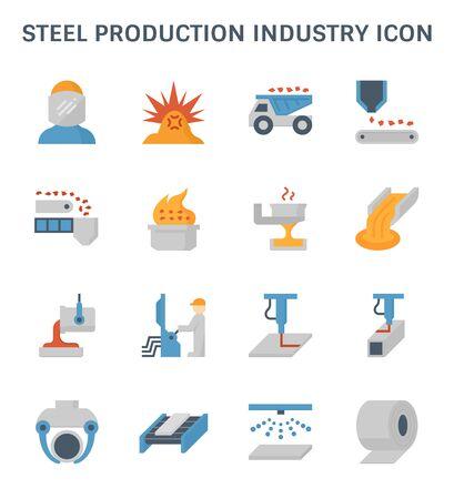 Ensemble d'icônes de l'industrie de la production d'acier et de la métallurgie. Vecteurs