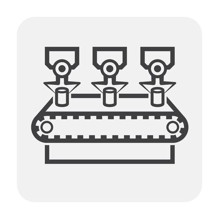 Production line icon, black color.