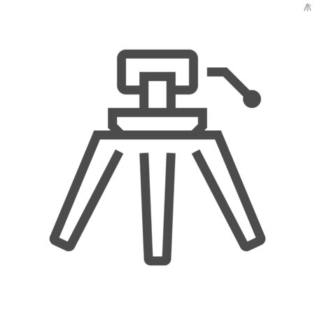 Film production camcorder tripod vector icon design, 48x48 pixel perfect and editable stroke.