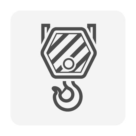 Crane hook vector icon design on white background.