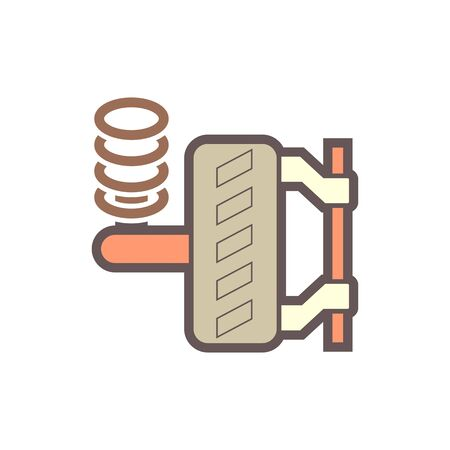 Car's wheel and installation tools vector icon design.