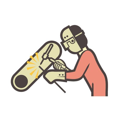 Welder and pipeline welding work vector icon design. Ilustração