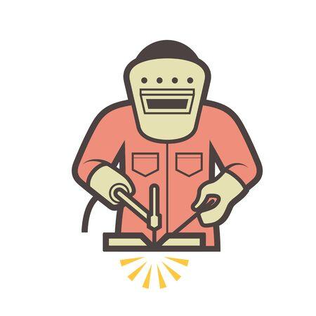 Welder and welding vector icon design. Stock Illustratie