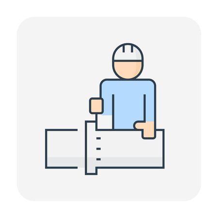Pipeline construction industry and worker icon, editable stroke.