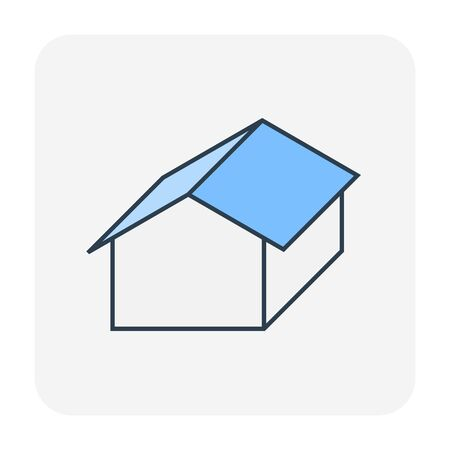 Roof and home building icon design, editable stroke.