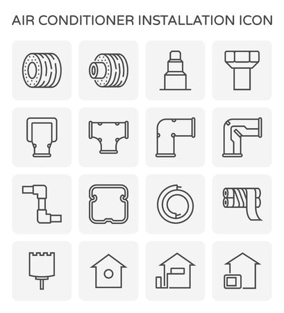 Air conditioner installation tool icon set design, editable stroke.