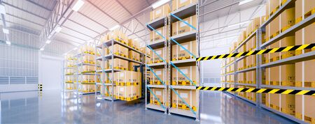 3d rendering of warehouse building and box packaging in shelf suitable for industrial background.