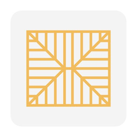 Roof structure icon design, top view, editable stroke.