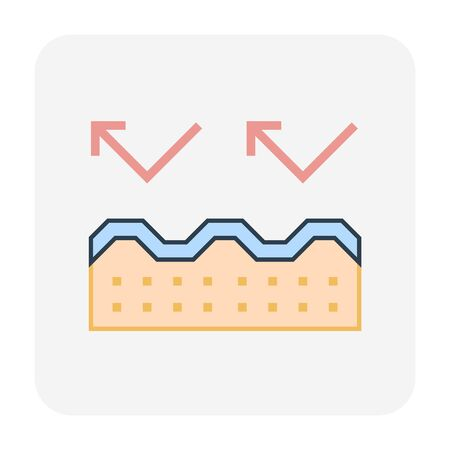 Roof tile and insulation icon design, editable stroke.