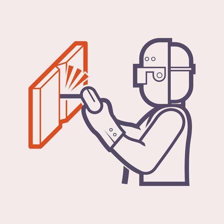 Welder and welding vector icon design. Vectores