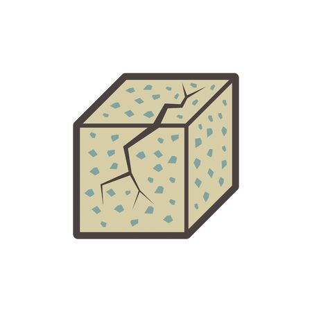 Concrete specimen cube type vector icon design.
