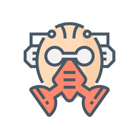 Gas mask or safety equipment vector icon design, 64x64 pixel perfect and editable stroke.