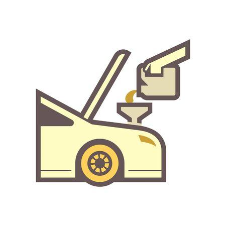 Lubricant oil filling vector icon design.