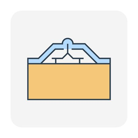 Roof tile and support icon design, editable stroke.