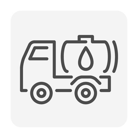 Water truck vector icon design for water work graphic design element, editable stroke.