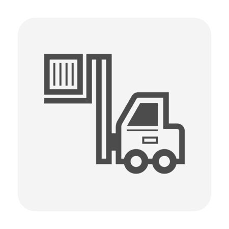 Forklift and cargo box vector icon design on white background.