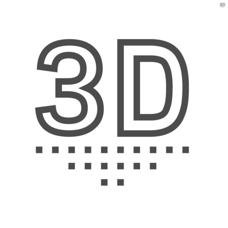 3D technology vector icon design, 48X48 pixel perfect and editable stroke. Ilustracja