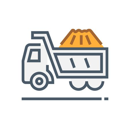 Truck and pile of soil inside vector icon design.