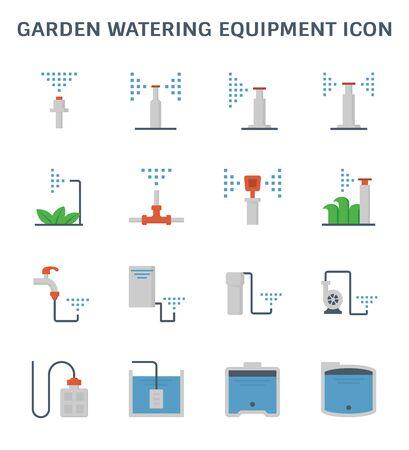 Garden watering equipment and sprinkler icon set for automatic sprinkler system graphic design element. Иллюстрация