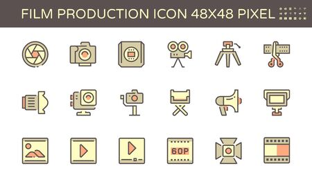 Film and film production vector icon design, 48X48 pixel perfect and editable stroke. Ilustrace