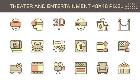 Theater and entertainment vector icon set design, 48X48 pixel perfect and editable stroke.