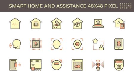 Smart homes and voice activated personal assistants vector icon set design, 48X48 pixel perfect and editable stroke. Reklamní fotografie - 140645795