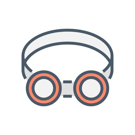 Safety goggle or safety equipment vector icon design, 64x64 pixel perfect and editable stroke.