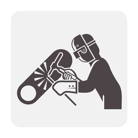 Welder and pipeline welding work vector icon design. Ilustrace