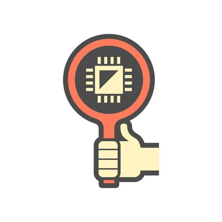 Microchip and magnifying glass  vector icon design on white.