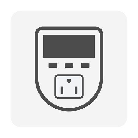 Timer plug vector icon design for smart home. Illusztráció