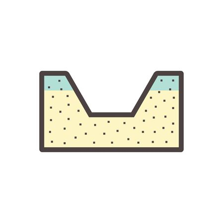 Pit and soil excavation work vector icon design.