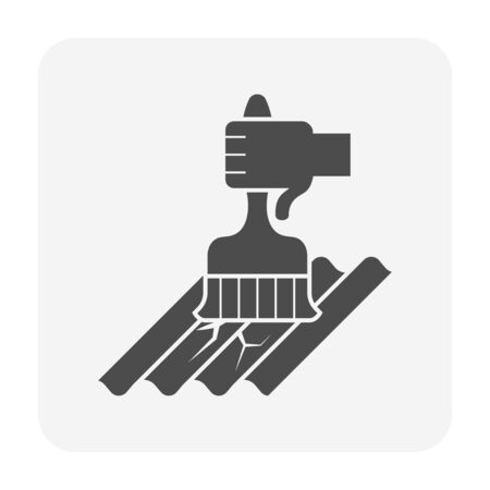 Roof tile damage and water leak and repair work vector icon design for home problem graphic design element.